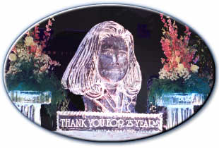 portrait ice sculpture woman